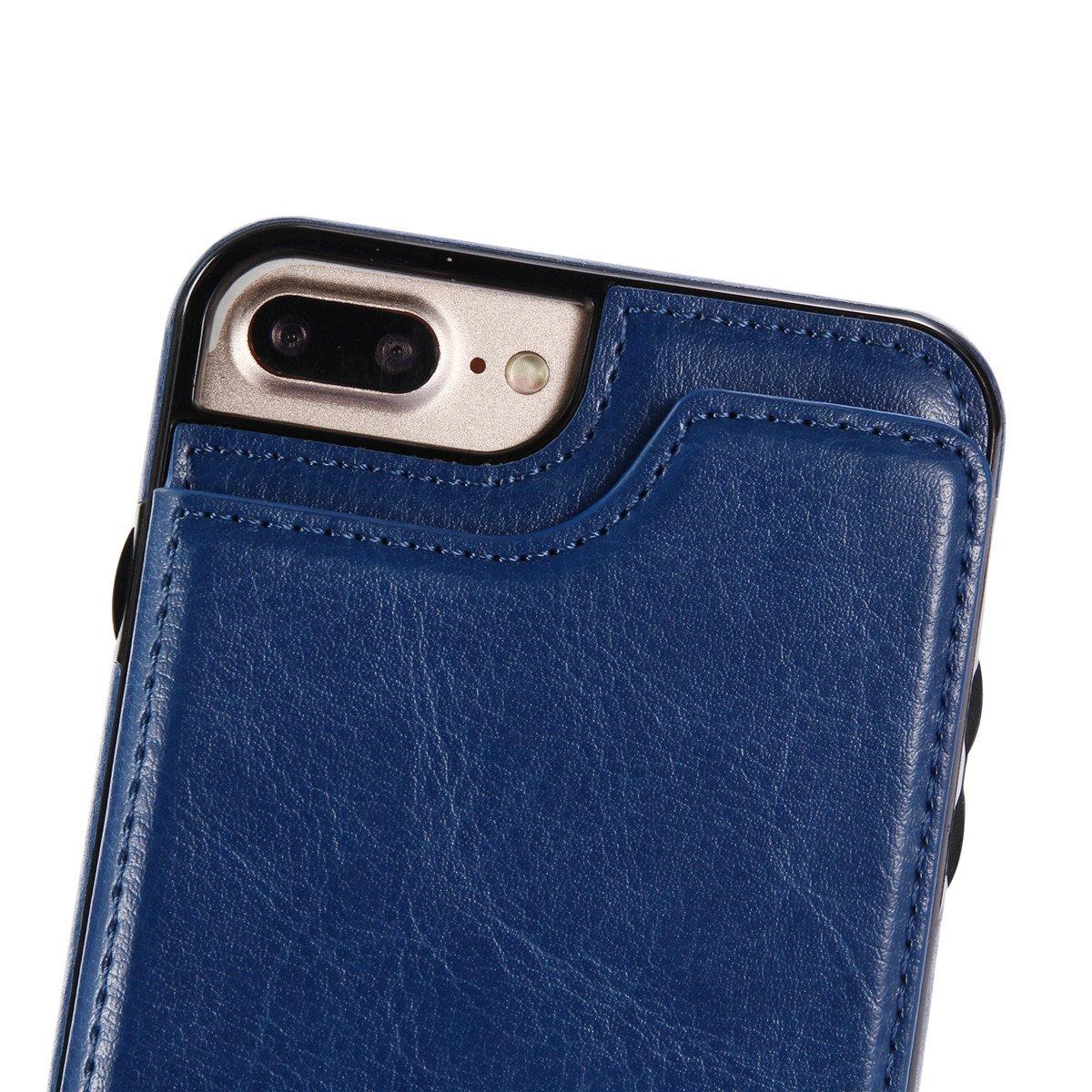 iPhone 7 Plus Rojo adorehouse Flip Stand Case Celular Estuche PU Cuero Cover con tapa tarjetero y soporte Dise/ño Billetera Carcasa para iPhone 7 Plus iPhone 8 Plus iPhone 8 Plus Funda
