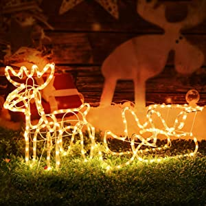 Christmas Double Deer Home Holiday Decoration (Warm White)