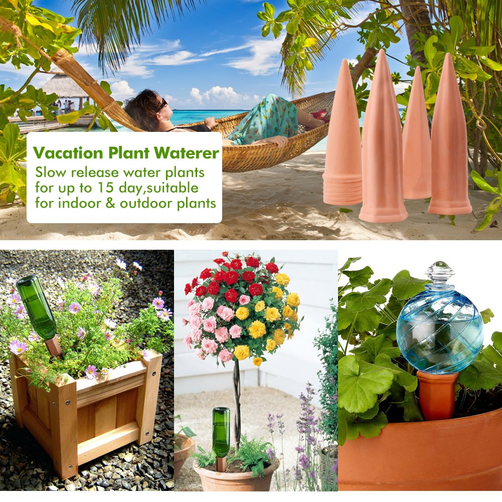 Plant Waterer Self Watering Spikes, Automatic Vacation Plant Watering Devices,Terracotta Wine Bottle Stake Set, Slow Release Self Irrigation Watering System-Perfect for Indoor Outdoor Office Plant (4) by punada (Image #6)