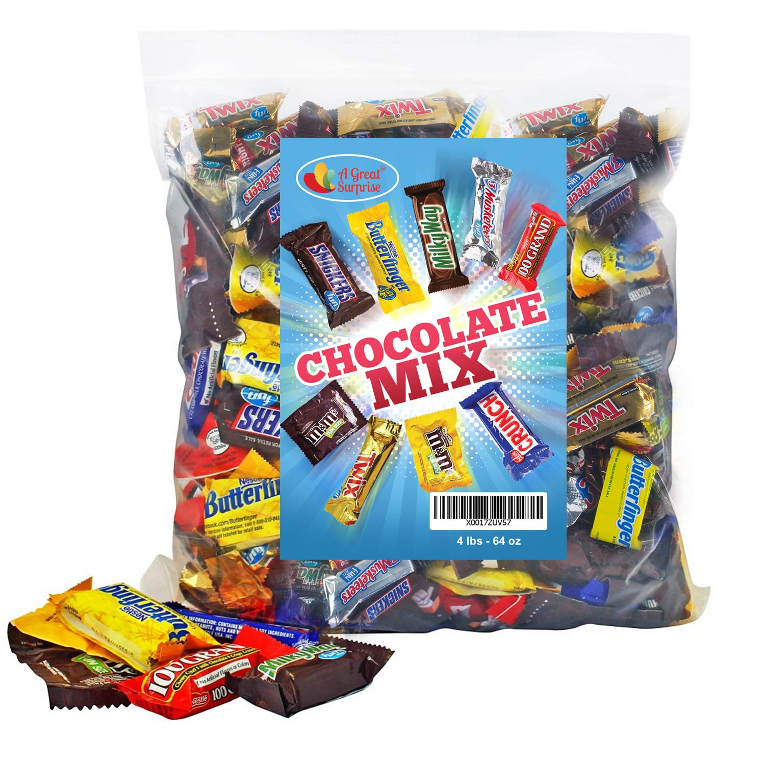 Chocolate Variety Pack Fun Size Mix, All Your Favorite Chocolate Bars Including M&M, Snickers, Butterfinger, Twix and More, 4 LB Bulk Candy by A Great Surprise