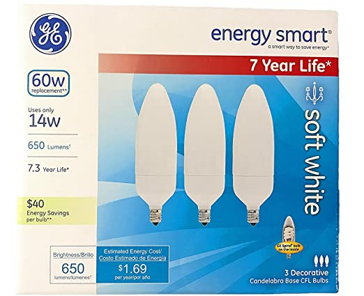 GE Energy-Smart Soft White CFL Candelabra Base, 14W Light Bulbs (60 Watt Equivalent) (14.0 Watt) - - Amazon.com