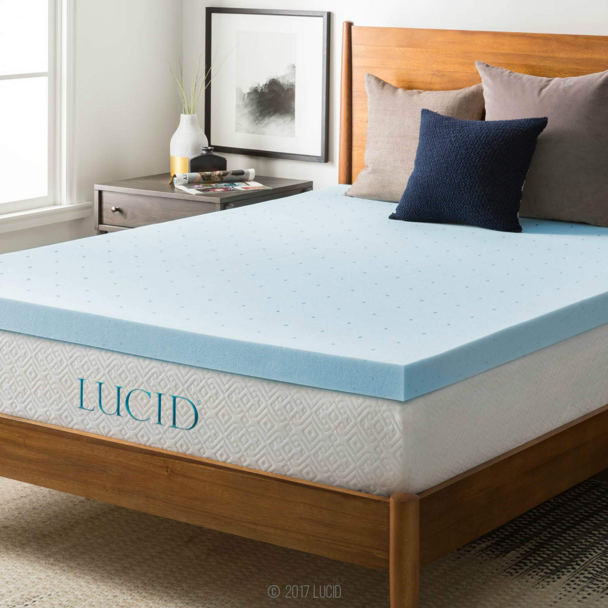 LUCID 3-inch Gel Memory Foam Mattress Topper - Queen (Renewed)