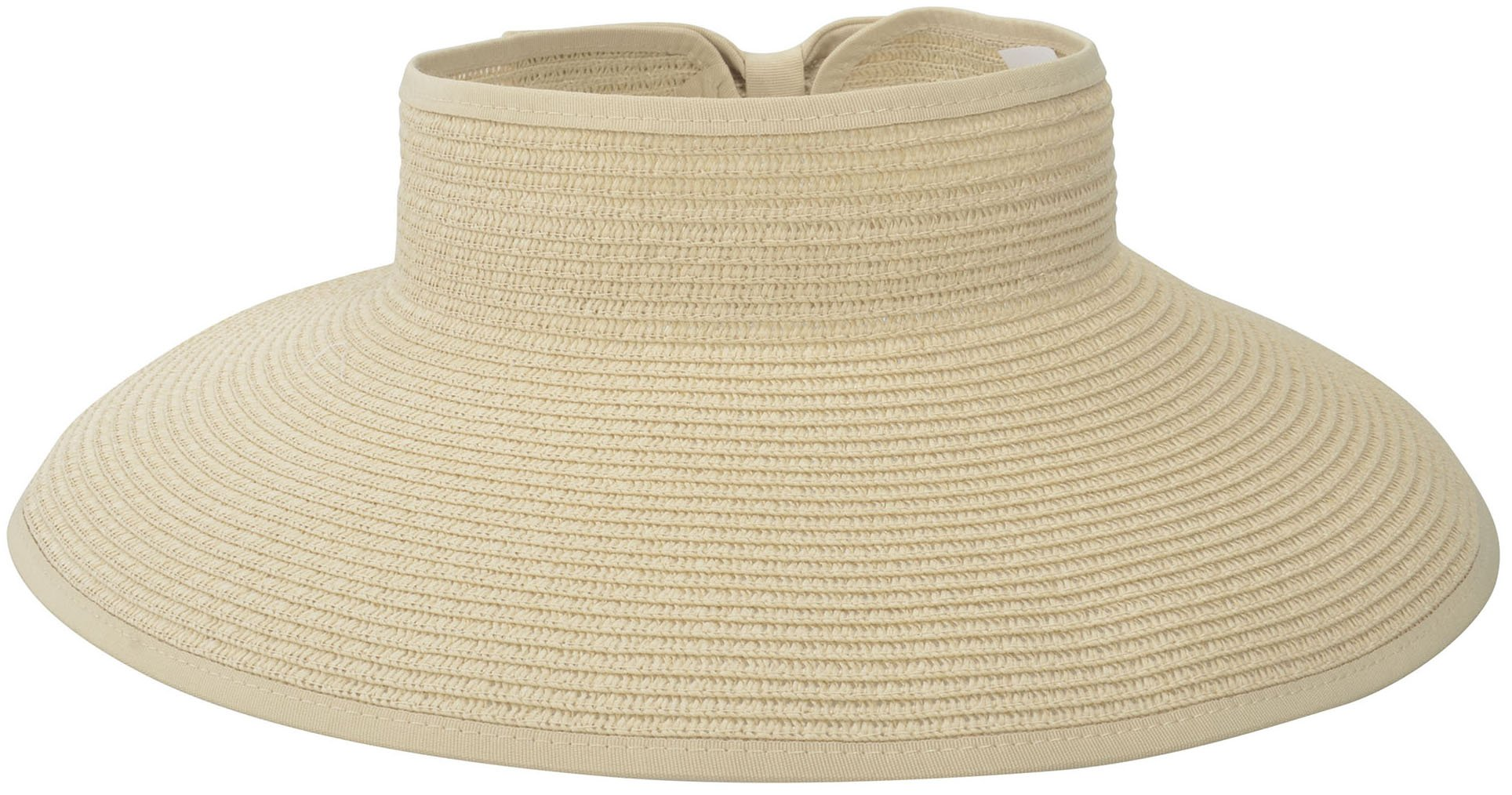 Simplicity Women's Roll up Wide Brim Straw Sun Visor Ribbed_Off-White