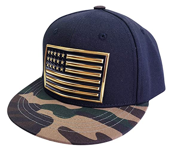 93d947b1341 Agibaby Infant   Toddler Kids Snapback Flat Brim Hat Baseball Cap- Metallic  3D American Flag