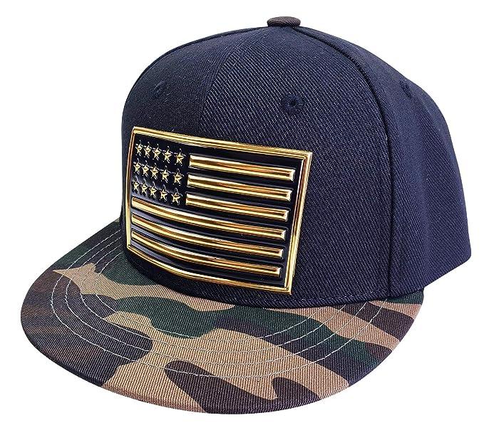 5137b25f42d77 Agibaby Infant   Toddler Kids Snapback Flat Brim Hat Baseball Cap- Metallic  3D American Flag
