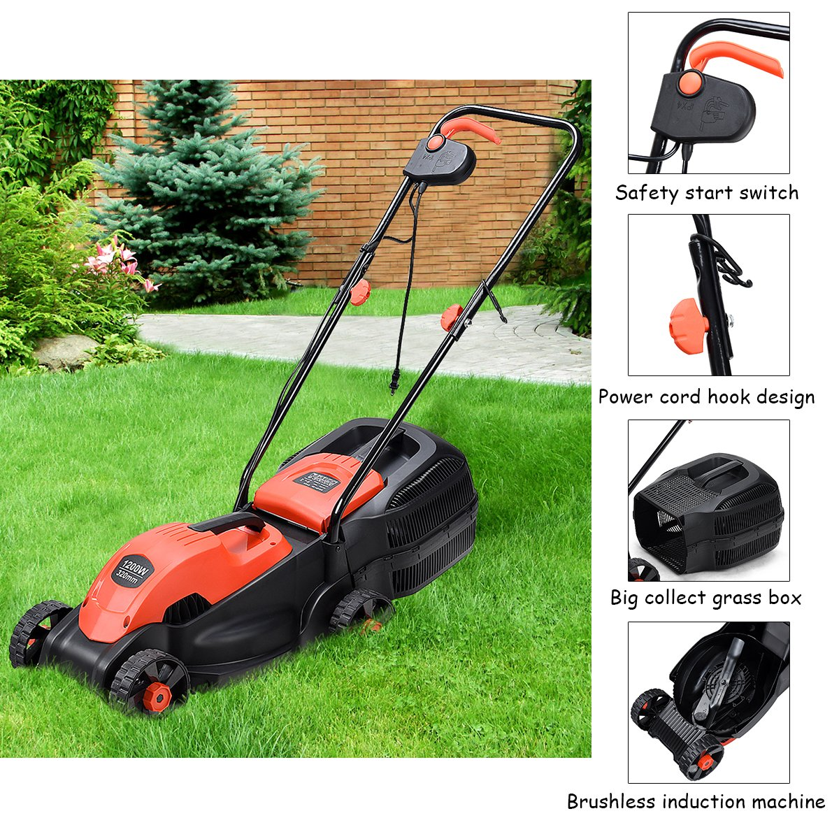 Goplus 14-Inch 12 Amp Lawn Mower w/Grass Bag Folding Handle Electric Push Lawn Corded Mower (Red)