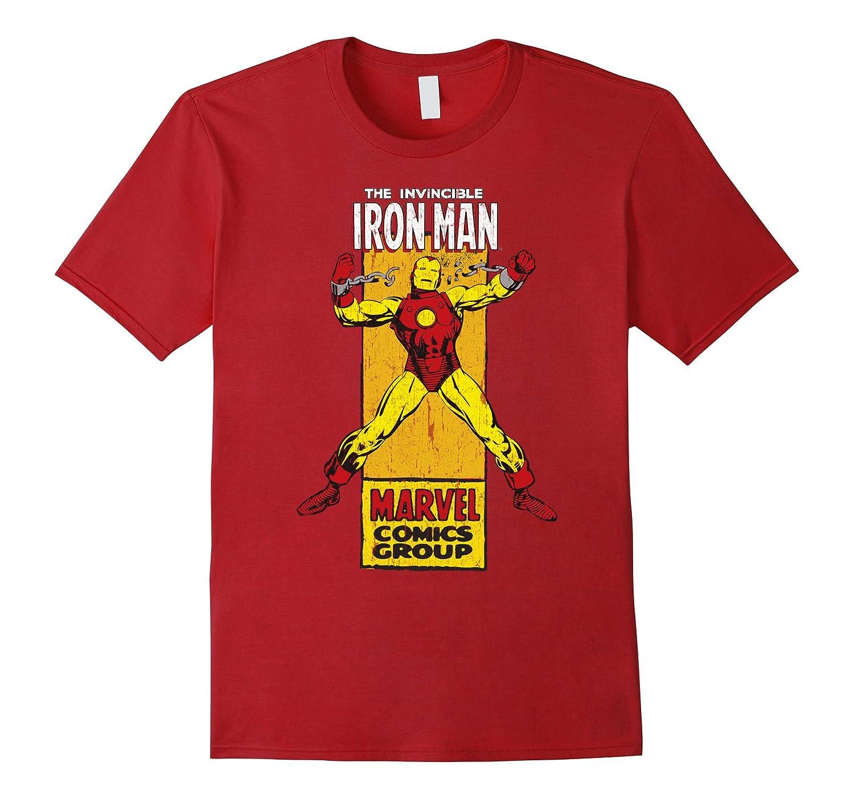 The Invincible Iron Man Retro Comic Side Panel Stamp T-Shirt-Art