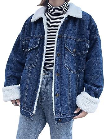 17fb889aab78 Jenkoon Women s Oversized Thick Warm Sherpa Fur Lined Denim Trucker Jacket  Boyfriend Jean Coat (Dark