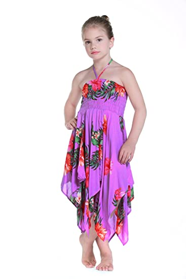 Niña gitano Botón desigual Hawaiian Luau vestido en Púrpura: Amazon.es: Ropa y accesorios