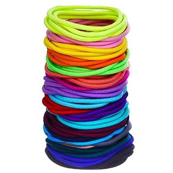 Amazon.com   eBoot 100 Count Elastic Hair Ties Ponytail Holders No Metal  Multicolor Girls Hair Elastics (5 x 0.3 cm)   Beauty 86a102efe48