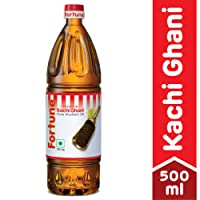 Fortune Kachi Ghani Oil, Mustard, 500ml PET Bottle