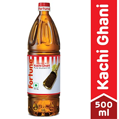 Fortune Kachi Ghani Oil, Mustard, 500ml