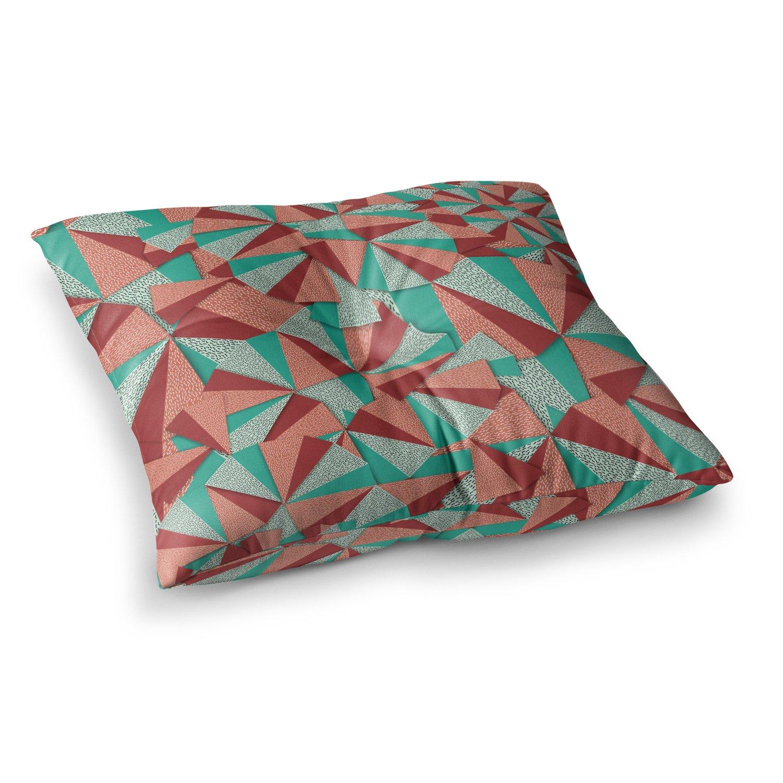 26 x 26 Square Floor Pillow Kess InHouse Danny Ivan Marsala Pattern Teal Red