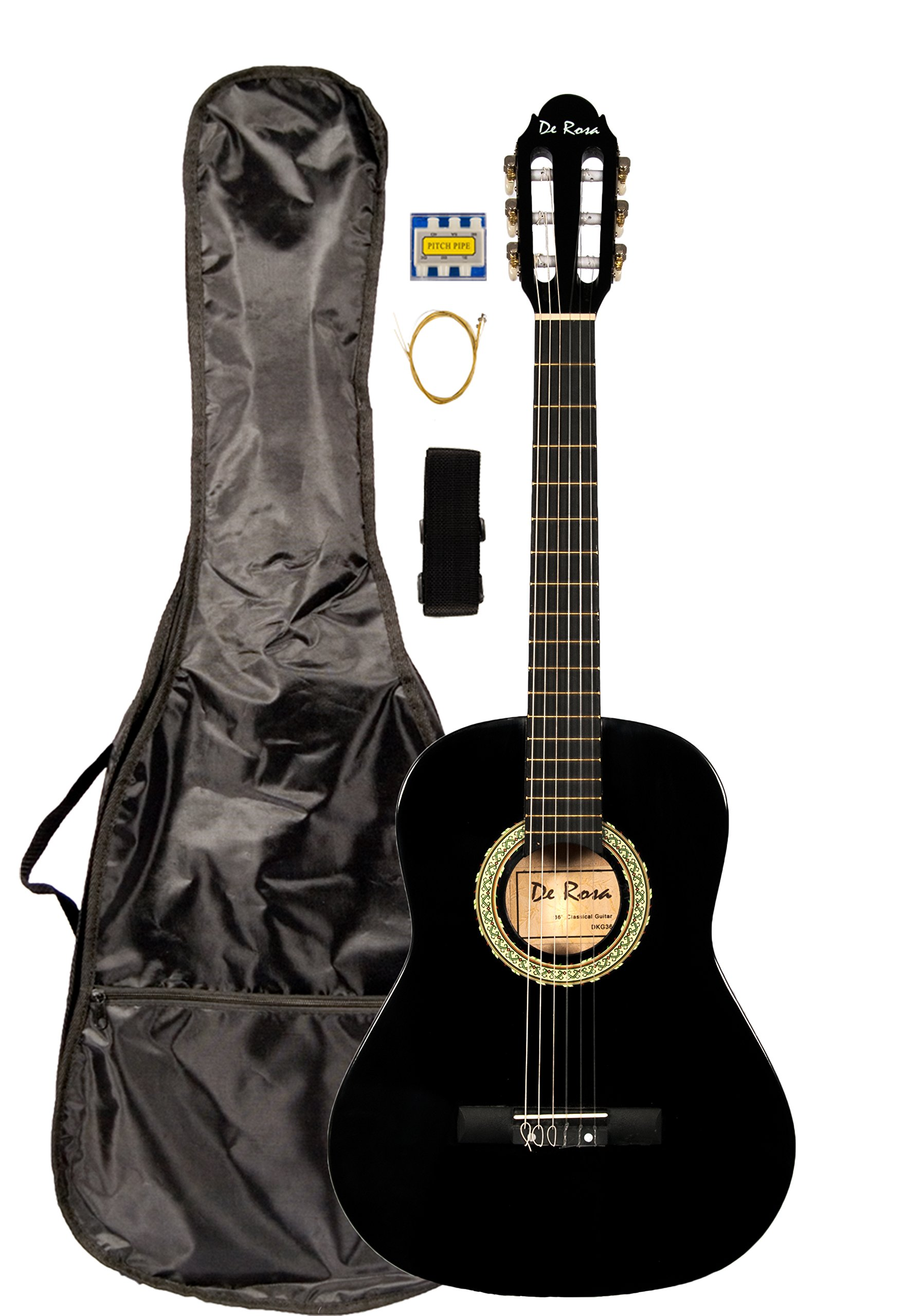 36 INCH DeRosa DKF36 Kid's BLACK 3/4 Classical Nylon String Guitar great for beginners