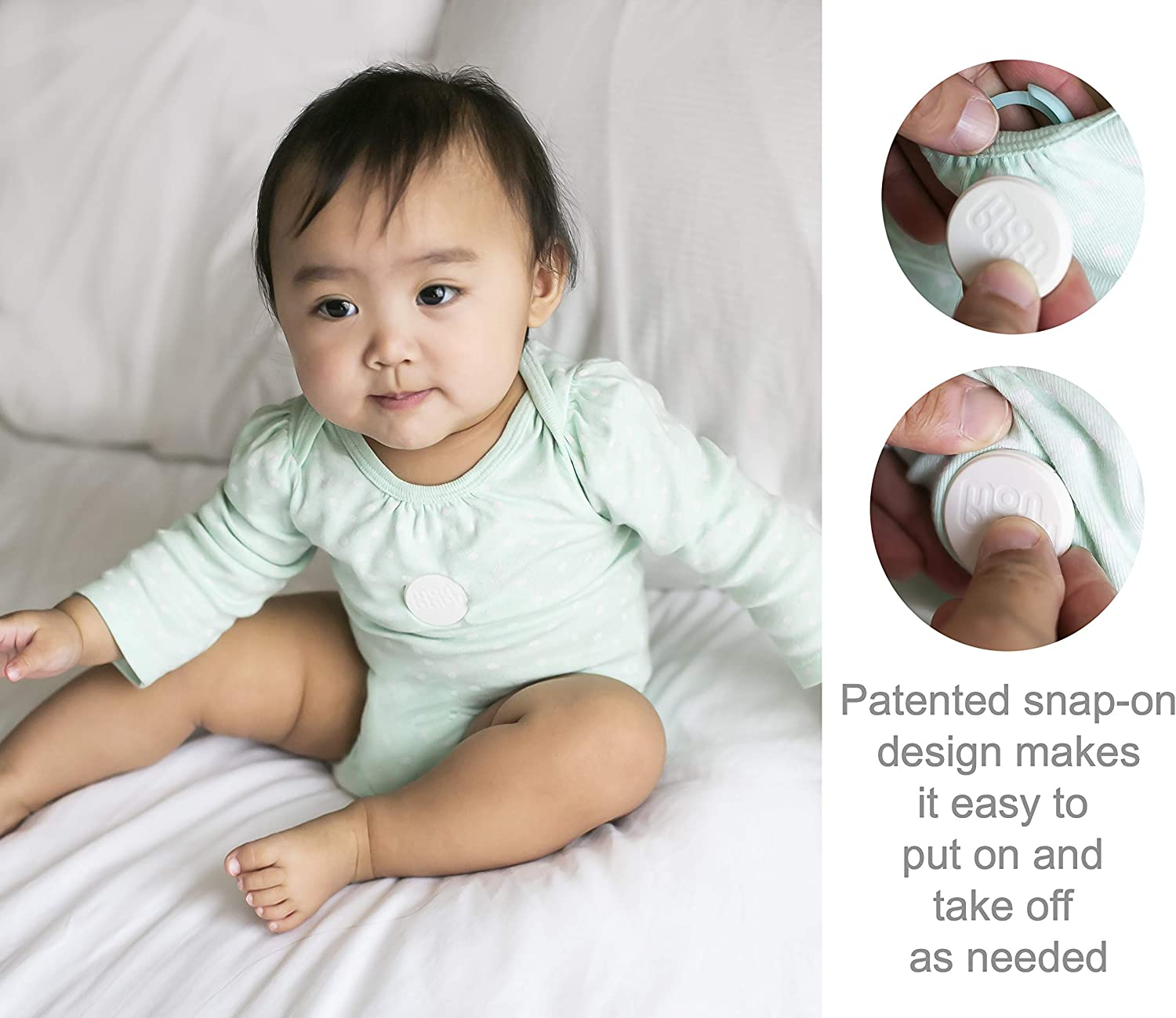 A Body Movement Ambient Temperature Baby Monitor with Breathing MonBaby Rollover and Temperature Sensors: Track Babys Breathing No Skin Contact or Diaper Placement Necessary.
