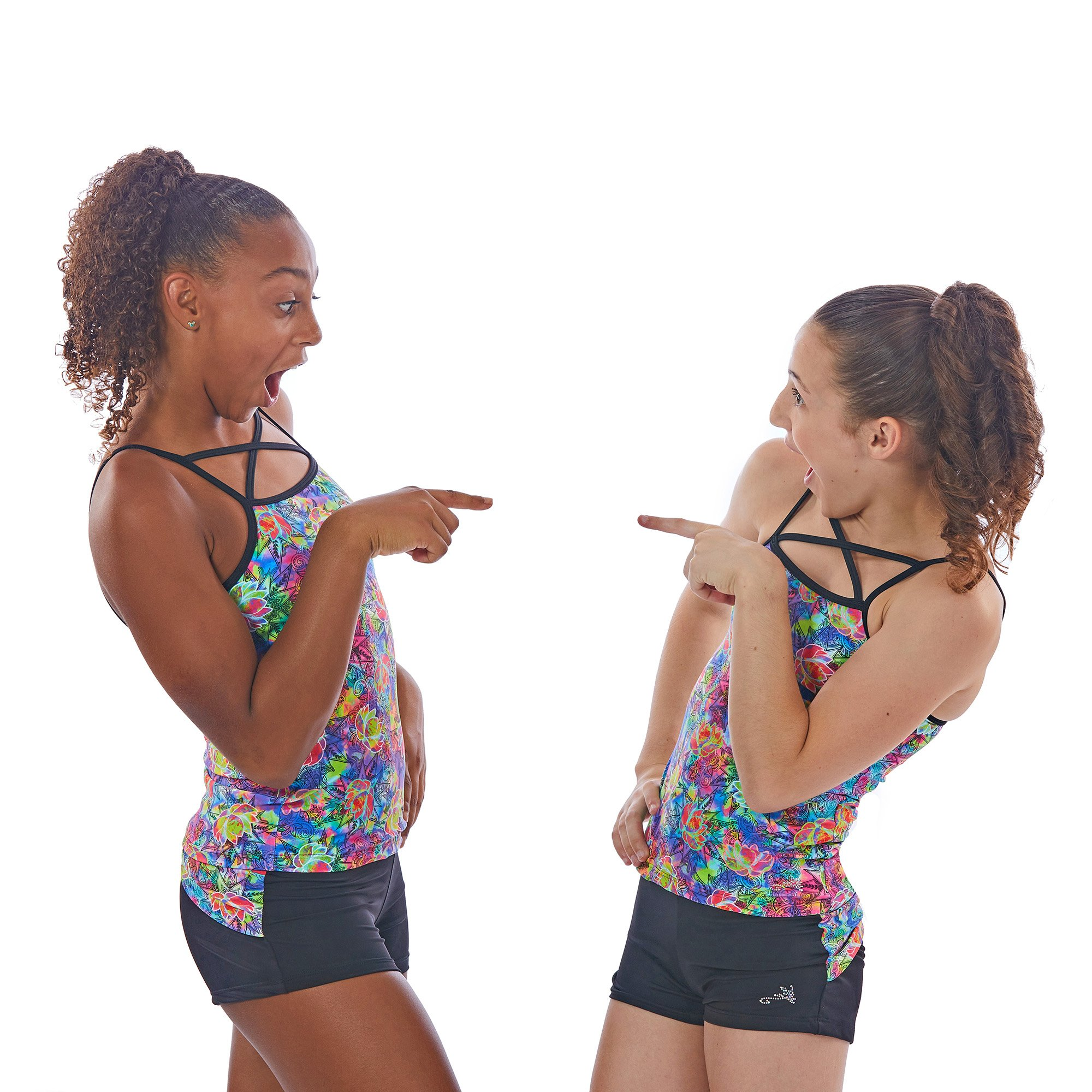 Lizatards Shorts and Bra Top Set in Girls or Adult Sizes for Dance or Gymnastics (Lotus Flower Girls M (8/10)) by Lizatards