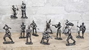 Ebros Gift Set of 12 Renaissance Medieval Knights with Swords Crossbows Halberds and Shields Figurines Suit of Armor Miniature European Knights Sculpture Decor