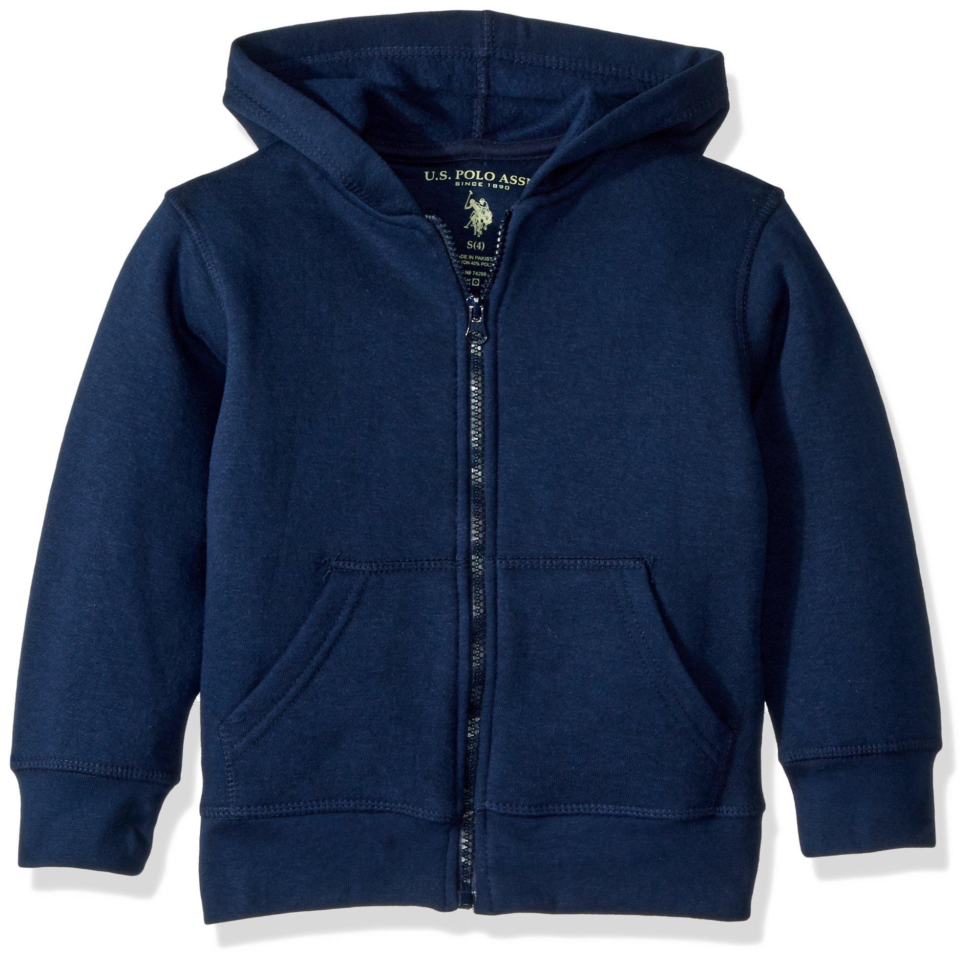 U.S. Polo Assn. Big Boys' Fleece Zip Front Hoody, Navy, 8