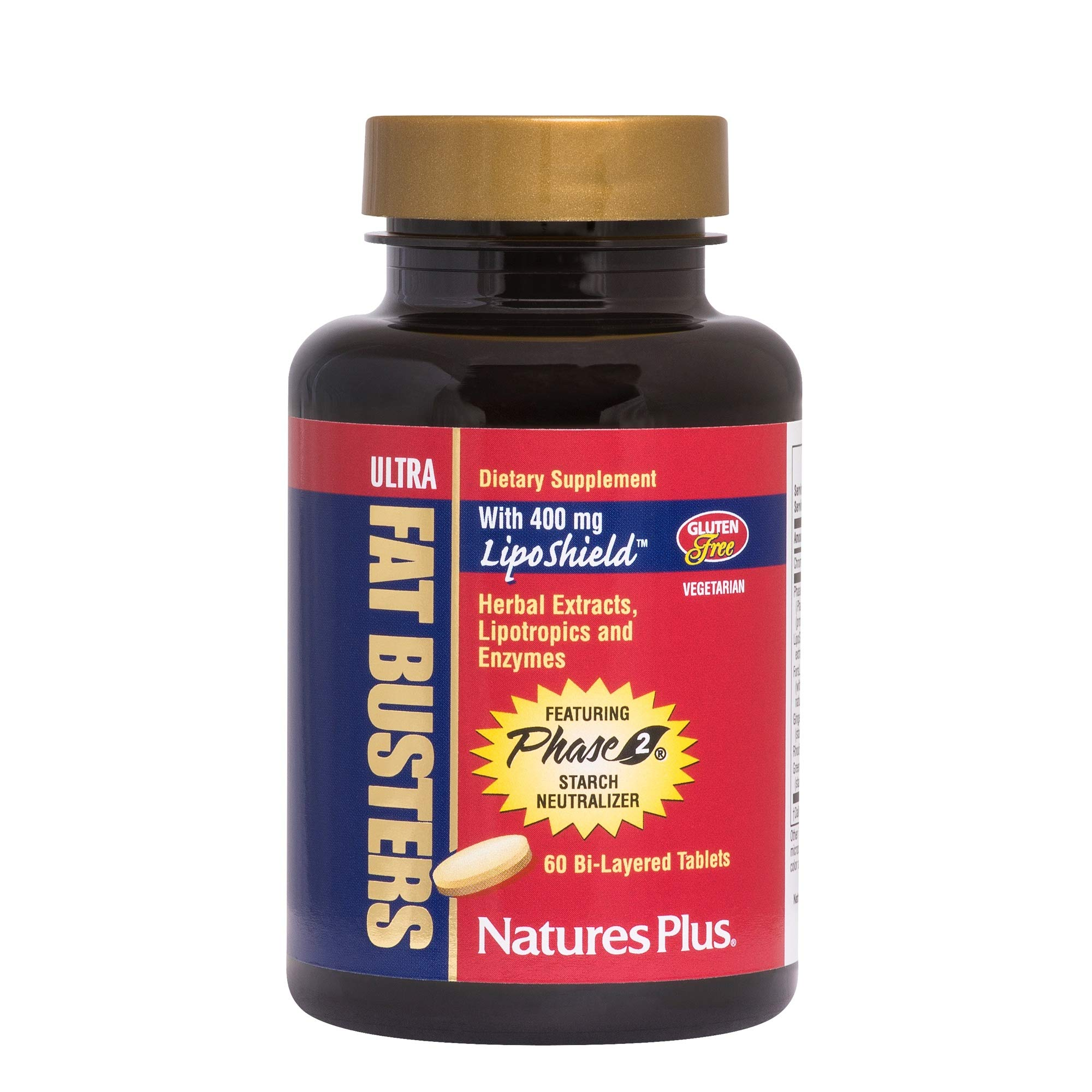 NaturesPlus Ultra Fat Busters - 60 Vegetarian Tablets - Weight Management Support Supplement - Green Tea, Ginger & Chromium - Targets Fat & Carbohydrates - Gluten-Free - 30 Servings