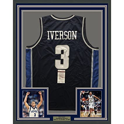27a3c628e83 Framed Autographed/Signed Allen Iverson 33x42 Georgetown Blue Basketball  Jersey JSA COA at Amazon's Sports Collectibles Store