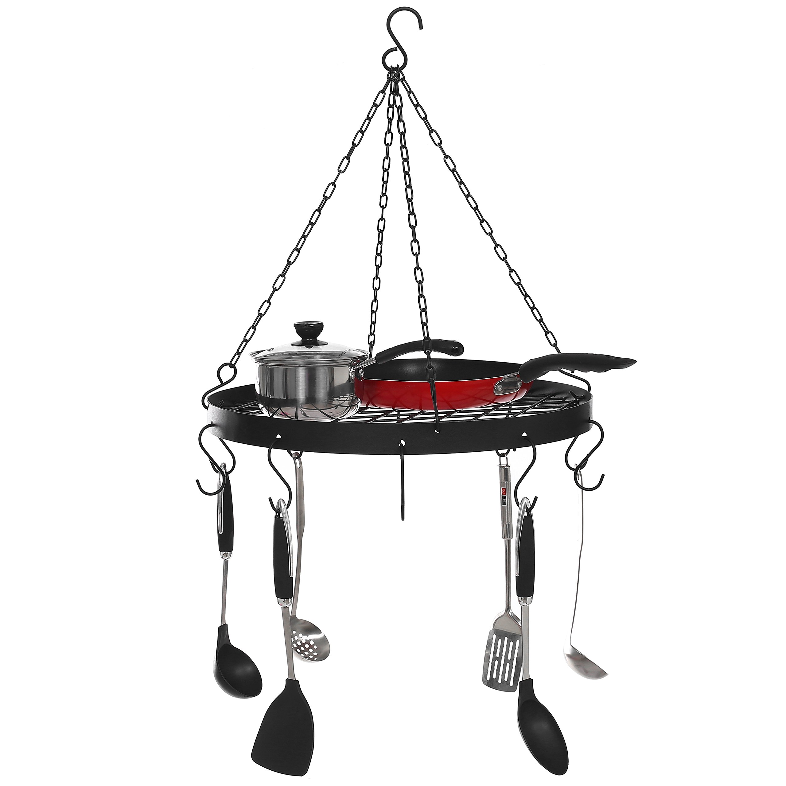 Black Metal Ceiling-Mounted Round Pots, Pans & Utensils Rack w/ Hanging 10 S-Hooks and Wire Grate Shelf.