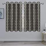 PureFit Jacquard Blackout Curtains for Bedroom, Cold/Heat/Sun Blocking and Noise Reduction Thermal Insulated Window Drapes, T