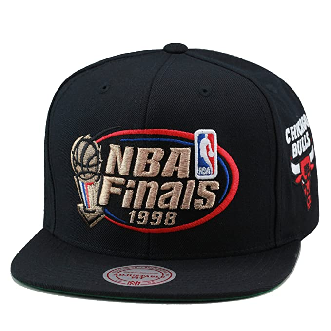6416d6ee3e7625 Image Unavailable. Image not available for. Color: Mitchell & Ness Men's Chicago  Bulls 1998 NBA Finals Commemorative Snapback Hat ...