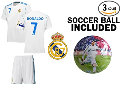 Fan Kitbag Ronaldo  7 Madrid Home Youth Soccer Jersey   Shorts Kids Premium  Gift Kitbag 1a15c6a35