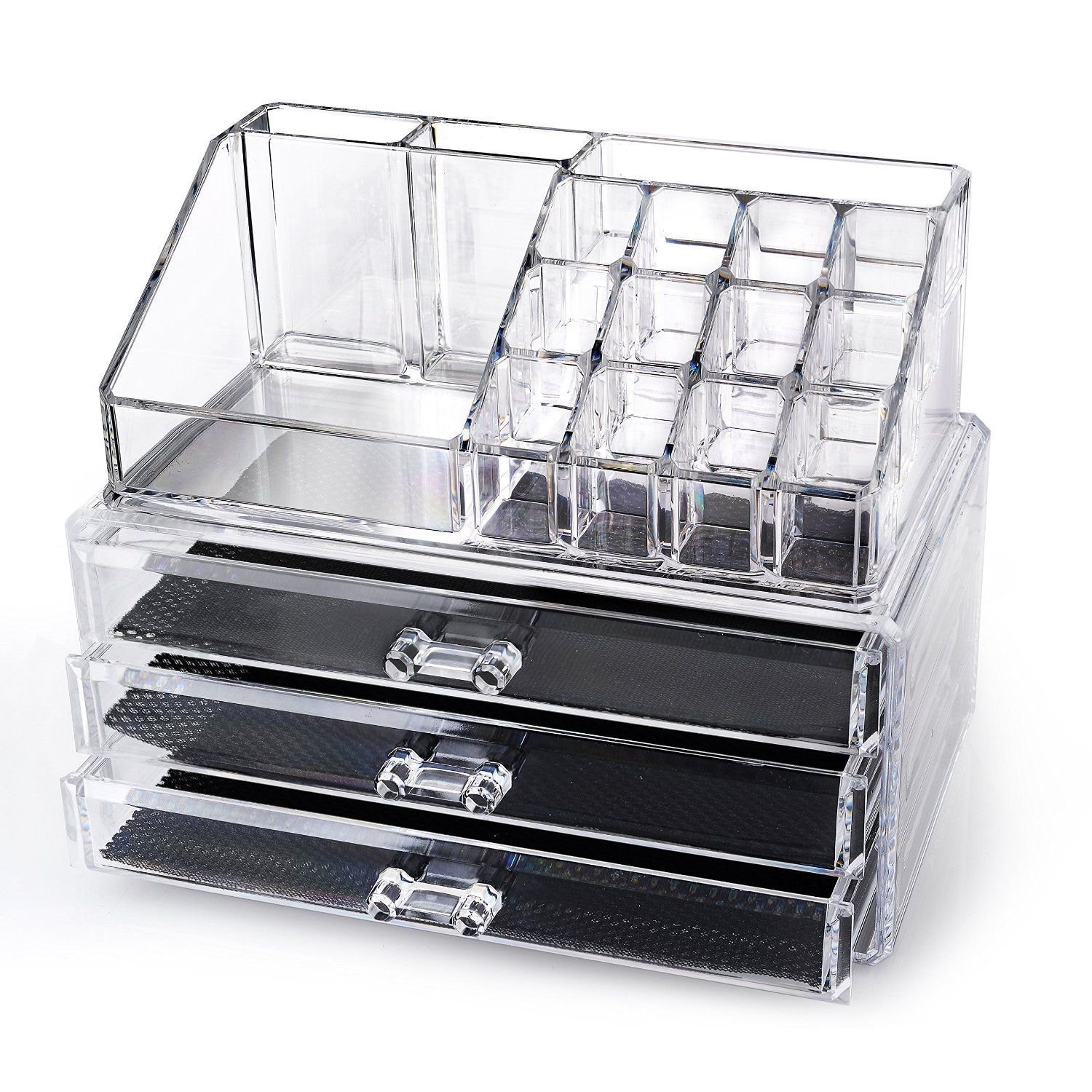 Generic NV_1008002482_YC-US2 ClearLar Jewelry Chest Make awers Cosmetic Holder lry C Up Case Organizer Make Large 3 Drawers se Or 2 pcs Clear Cosmeti