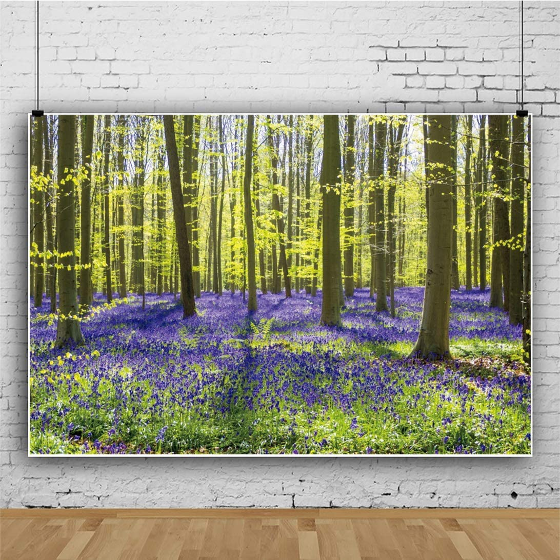 10x6.5ft Vinyl Spring Scenery Forest Path Photography Background Green Forest Tree Natural Landscape Backdrop Travel Party Child Adult Portrait Studio Props Interior Decoration