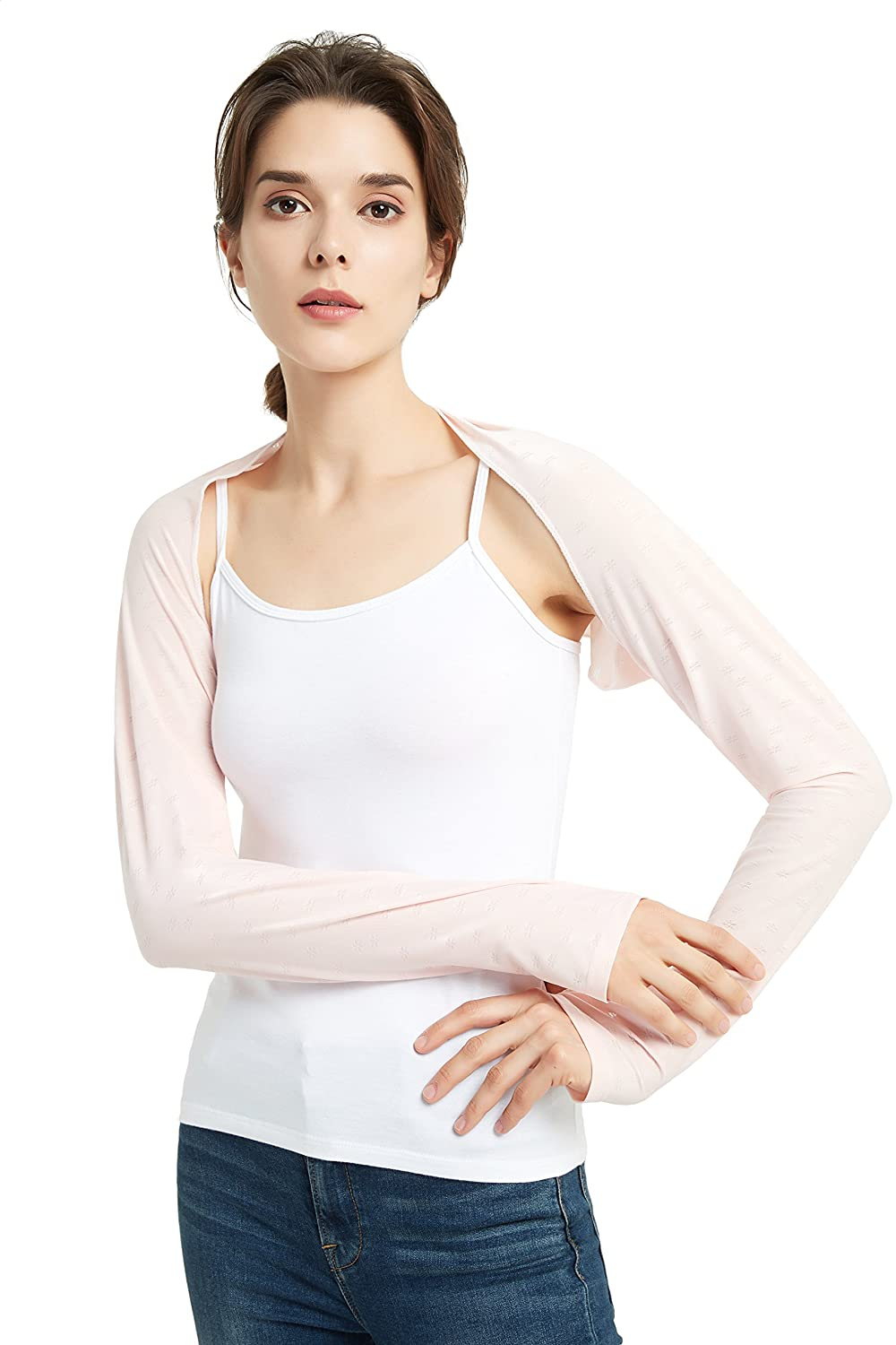 Women's Arm Sleeve Shrug Sun Protection Anti-UV Cooling Shawl for Riding, Golfing, Driving (White)