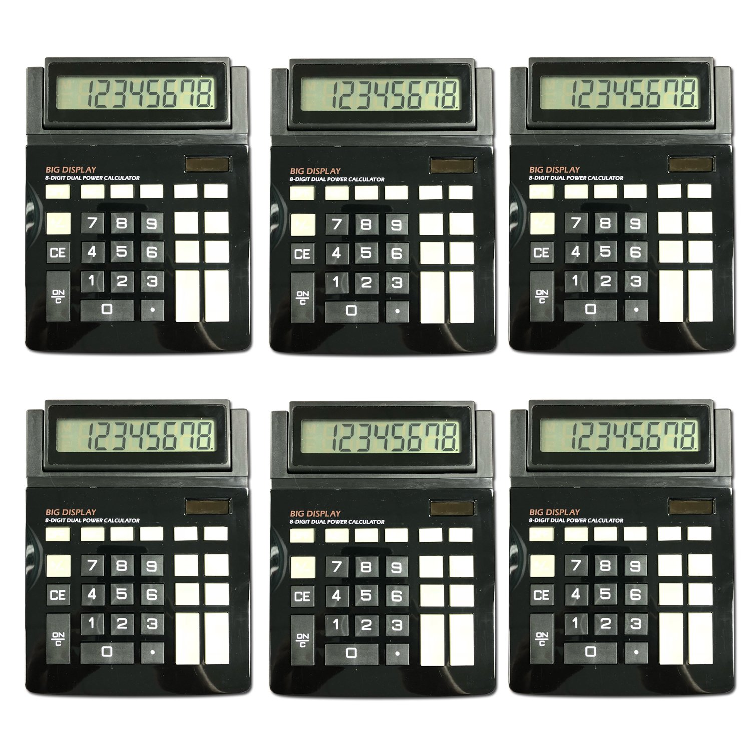 Dual Power Large Display Standard Function Desktop Basic Calculator Bulk Value 6 Pack Assortit