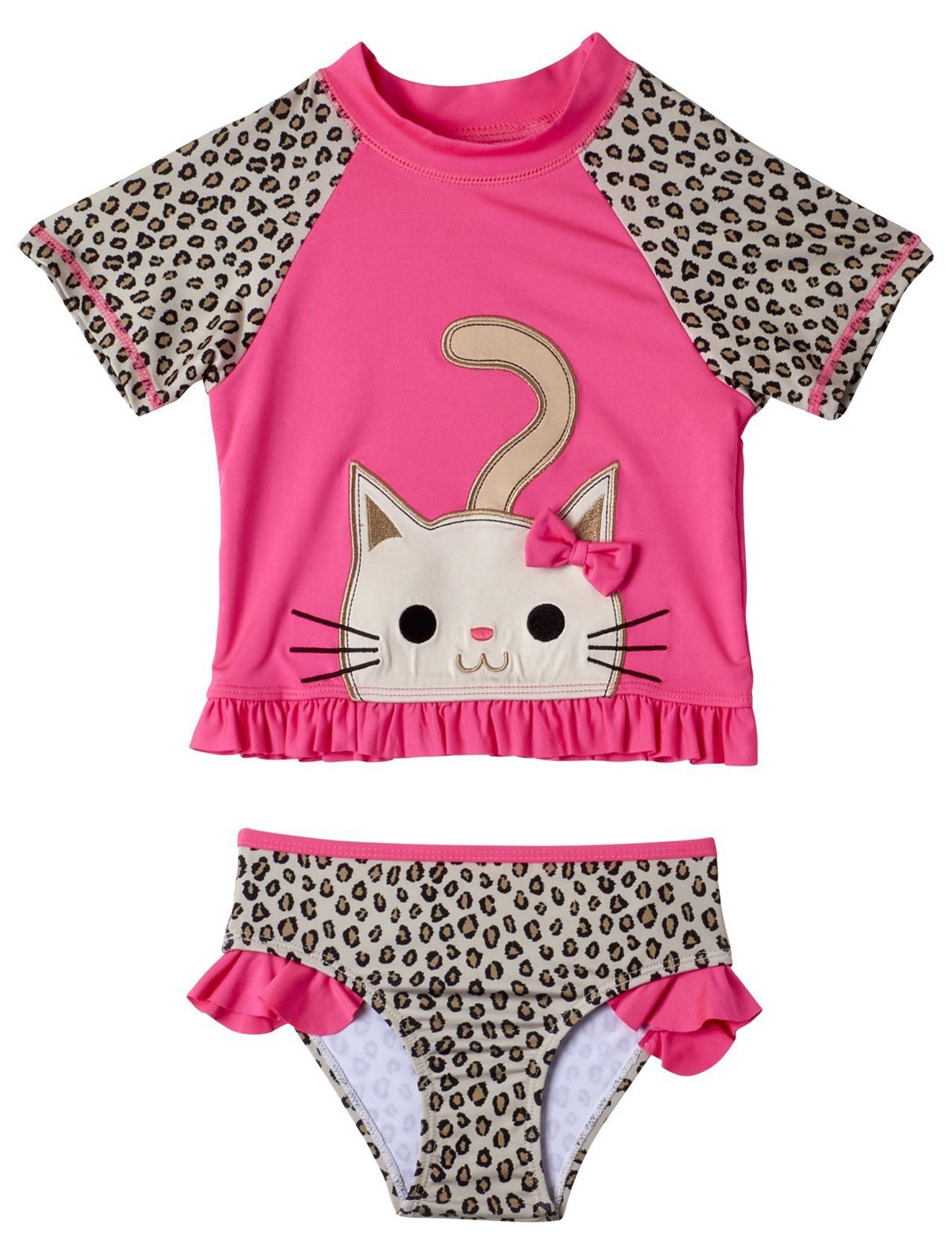 Wippette Girls 2-Piece Rashguard Sun Protection Swimsuit Set, Cheetah Print