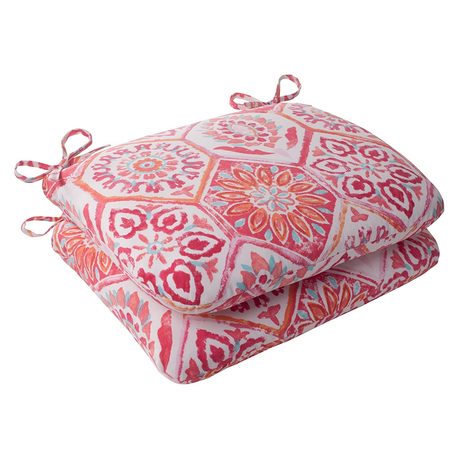 Pillow Perfect Outdoor Summer Breeze Rounded Seat Cushion, Flame, Set of 2