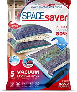Spacesaver Premium Vacuum Storage Bags. 80% More Storage! Hand-Pump for Travel! Double-Zip Seal and Triple Seal Turbo-Valve for Max Space Saving! (Large 5 Pack)