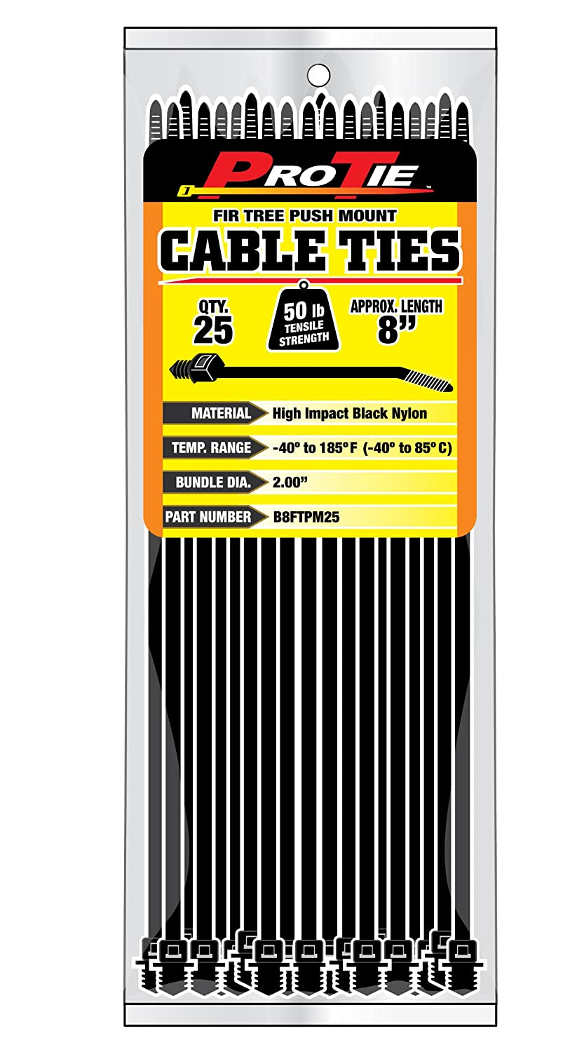 Pro Tie B8ftpm100 8 Inch Fir Tree Push Mount Cable Uv Black Wiring Harness Zip Ties Nylon 100 Pack Down