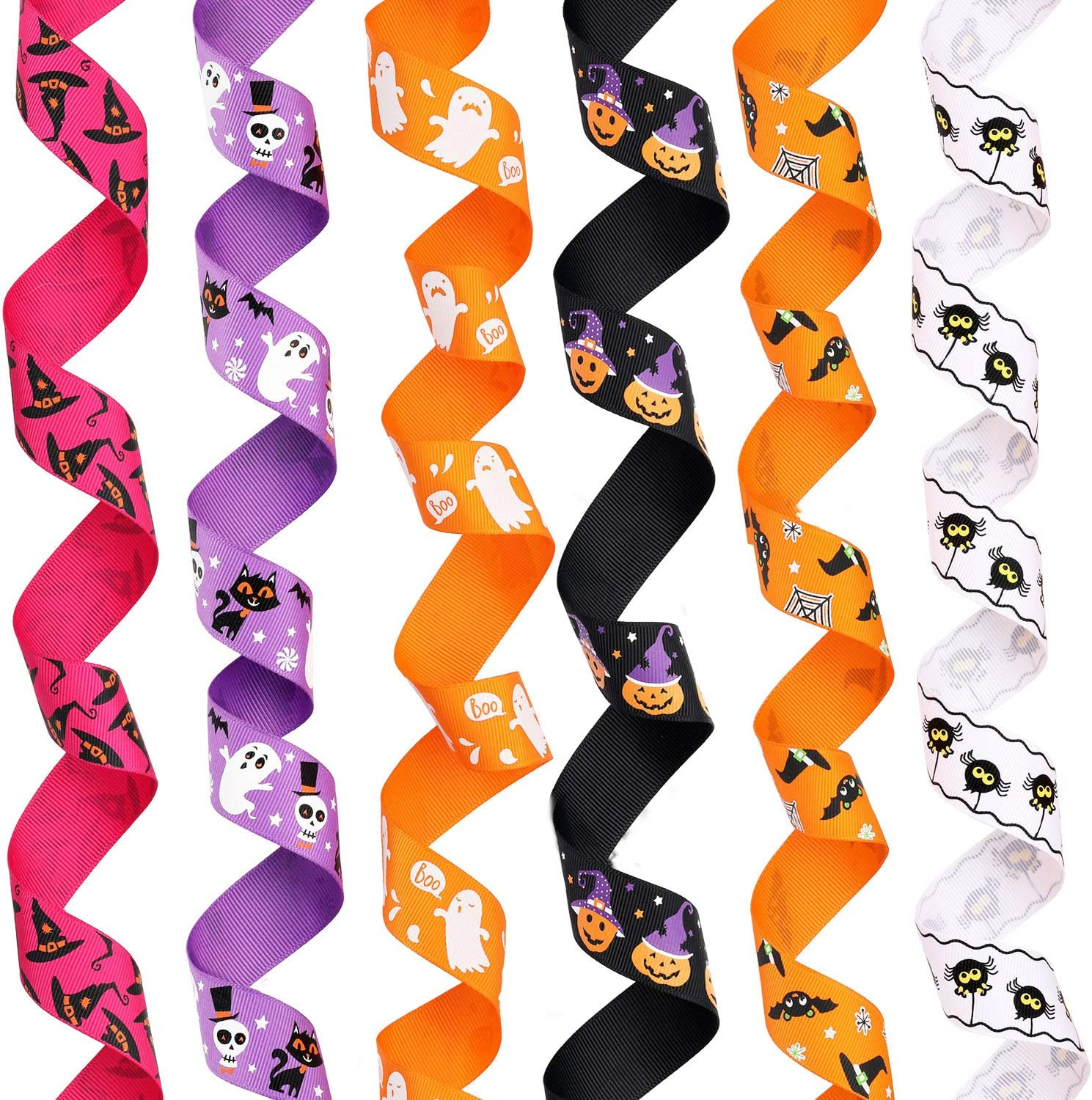 20 Yards 1 Inch Wide Halloween Ribbon Ghost Spider Pumpkin Witch Hat Print Grosgrain Ribbon Halloween Decorative Ribbon for Halloween Party Supplies