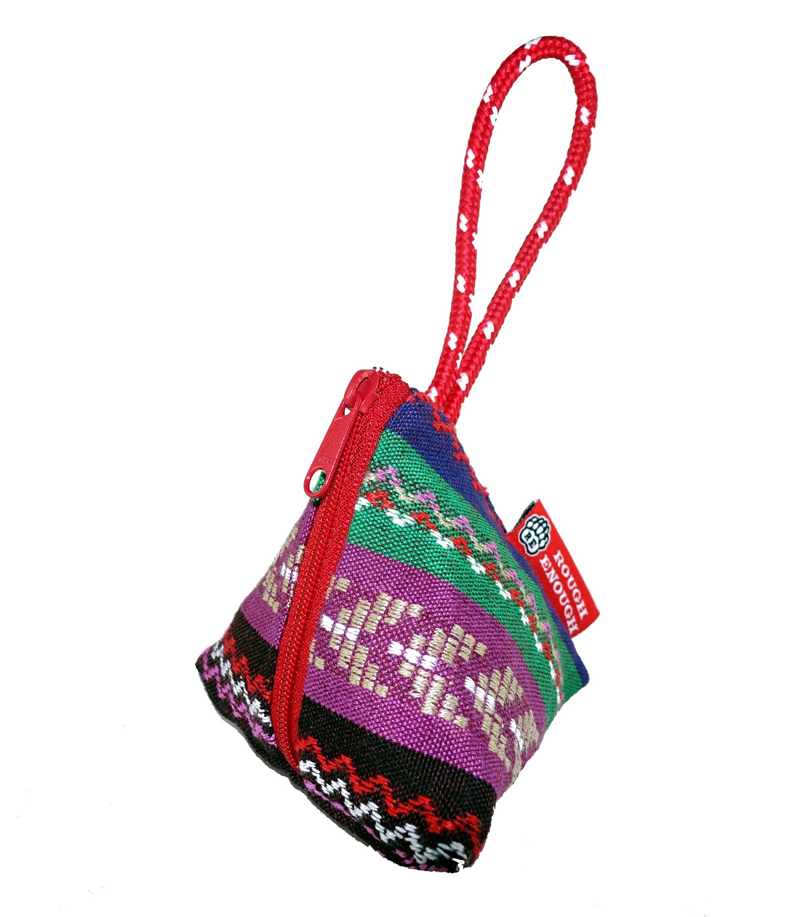 Rough Enough Cotton Folk Ethnic Boho Embroidery Vintage Portable Mini Triangle Wristlet Coin Pouch Purse Wallet Bag Small Accessories Jewelry Storage Organizer for Kids Girls Women Home Outdoor
