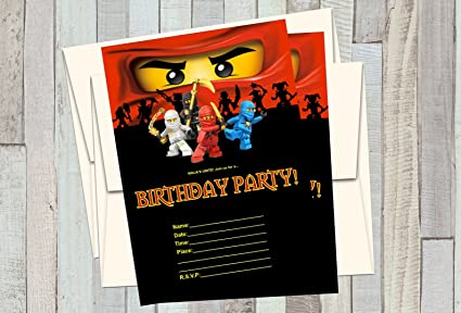 12 NINJAGO Birthday Invitations 5x7in Cards Matching White Envelopes