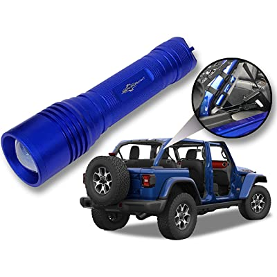 Jeep Wrangler Accessories Ocean Blue Colored LED Flashlight with Roll Bar Holster. Holster fits Jeep Jk rollbar also. Color match is for 2020-2020 Jeep JL Accessories, Ultra Bright, 1000 Lumens: Automotive