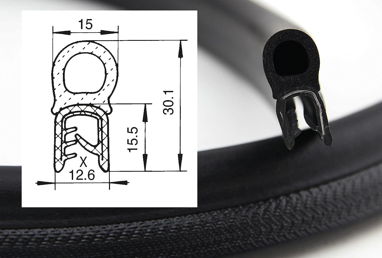 Dichtschlauch obenliegend aus EPDM Moosgummi Klemmbereich 4-7 mm Klemmprofil aus Weich-PVC DO8 Dichtungsprofil von SMI-Kantenschutzprofi einfache Montage 5 m selbstklemmend ohne Kleber