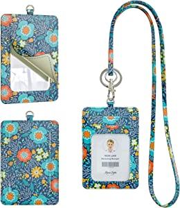 RoseLake ID Badge Holder with Makeup Mirror, Leather ID Badge Card Holder Wallet with Vanity Mirror and 1 Clear ID Window & 1 Credit Card Slot and a Detachable Neck Lanyard (Blue)