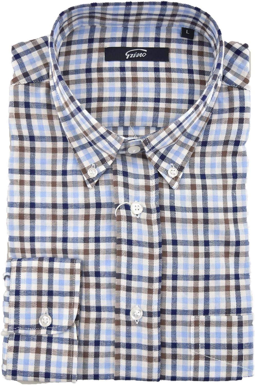El Hombre de Camisa Clásico Botón de Franela de Luz Azul a Cuadros Marrón Blanco en el Cielo - Grino - Marrón, M: Amazon.es: Ropa y accesorios
