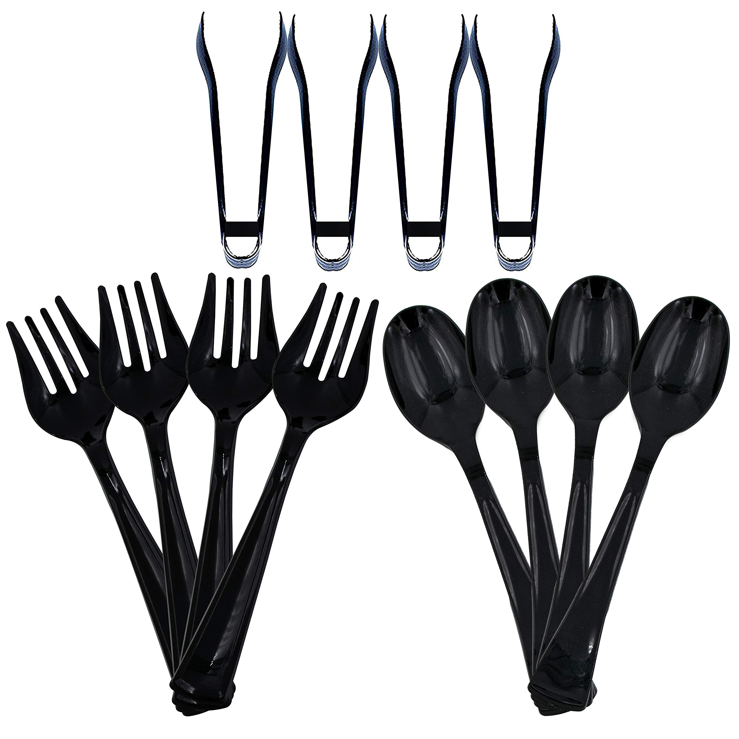 Upper Midland Products Disposable Plastic Serving Utensils Black - Set of 12 - Four 10'' Spoons, Four 10'' Forks, and Four 6'' Tongs by Upper Midland Products