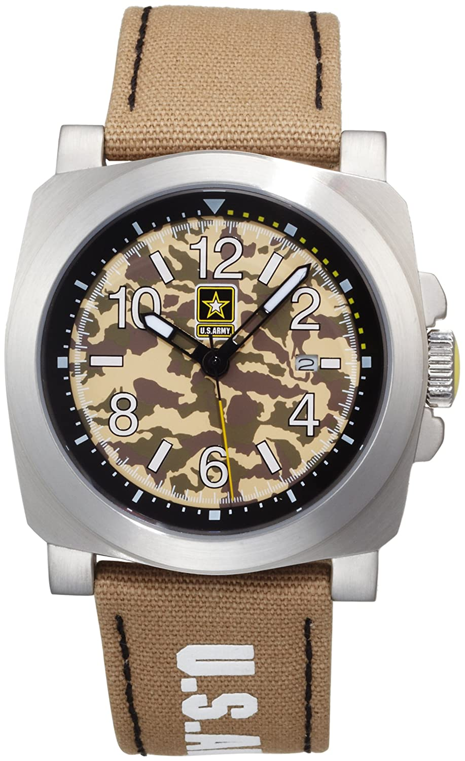 US Army Men 's Inf – 818 Infantry MilitiaステンレススチールWatch B0032AMV7A