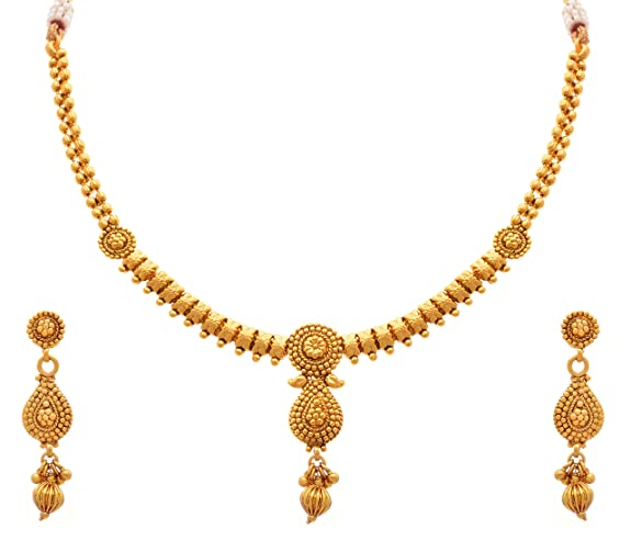 Jfl Traditional Ethnic One Gram Gold Plated Designer Necklace Set
