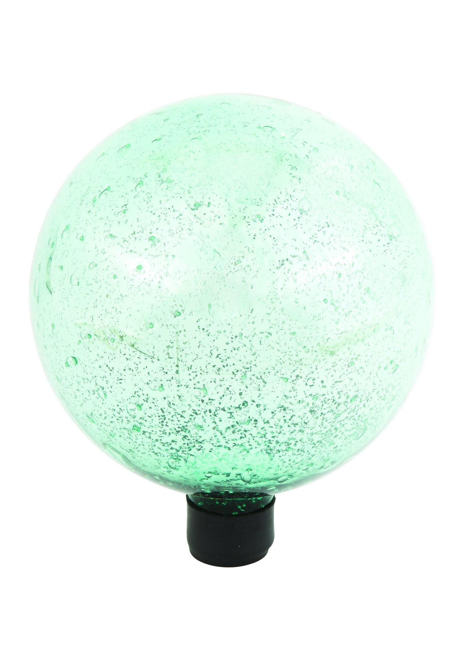 Russco III GD137210 Glass Gazing Ball, 10'', Green with Silver