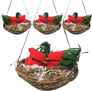 Red Cardinal Nest Christmas Ornaments - Set of 4 Nests with Two Small Cardinal Birds Inside - Brown Nest with Greenery and Snow Detail - Approx. 3 Inches