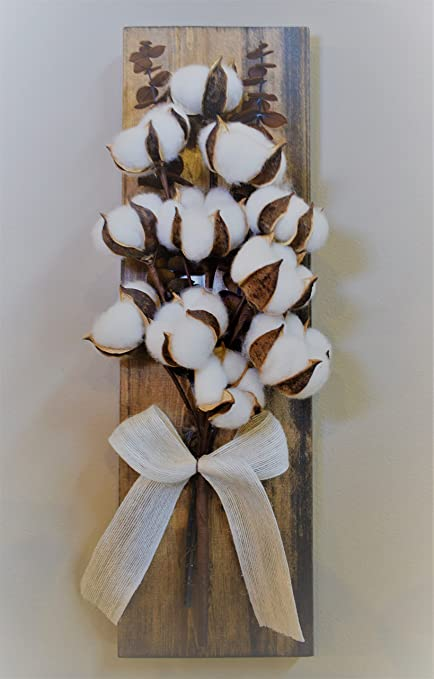 Amazon.com: Rustic Farmhouse Cotton Plant Hanging Wall Decoration ...