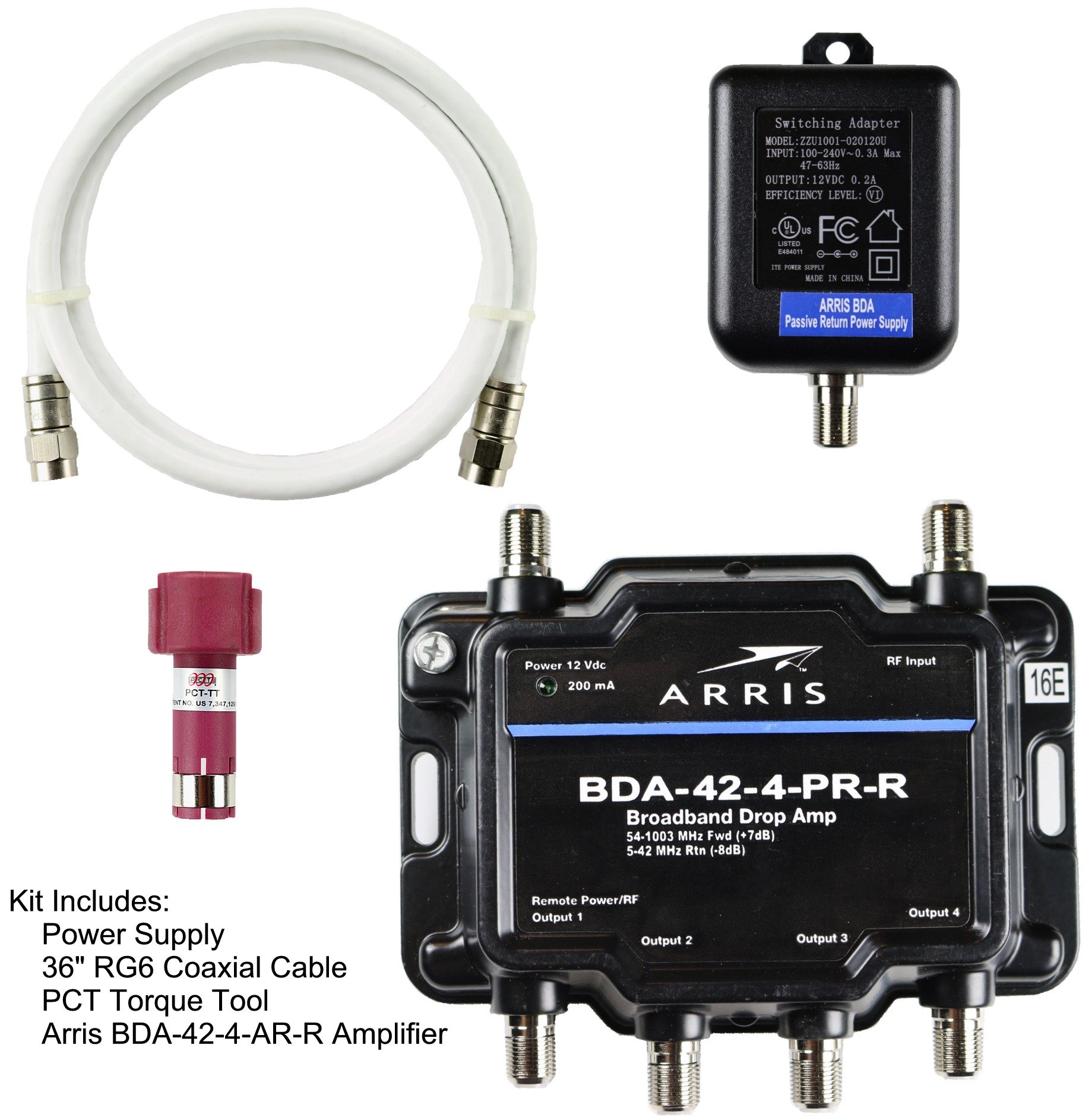 Arris 4-Port Bi-Directional Cable TV, OTA, Satellite HDTV Amplifier Splitter Signal Booster with Passive Return And Coax Cable Package - cableTVamps®  by cableTVamps